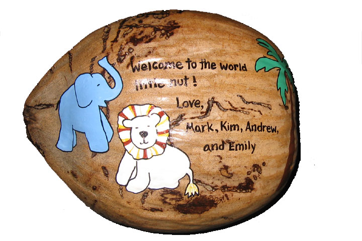 Unique one of a kind baby gift a painted coconut add your message for a unique gift for your newest family member negle Gallery