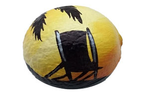 coconut painted with beach chair beach and palm tree