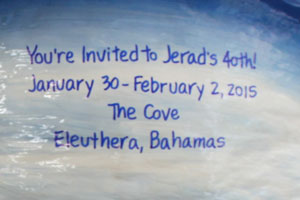 Unique party invitations on a coconut