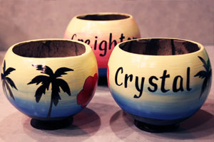 Custom painted coconuts are a one of a kind anniversary gift