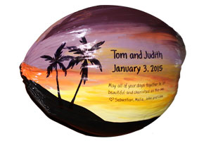Painted coconuts make a unique wedding keepsake gift or personalize with your message for any occasion.