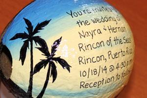 hand made wedding invitation coconut
