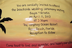 For a tropical theme wedding use hand painted, personalized coconuts as Save the Date announcements, centerpieces, bridal favors and wedding invitations.