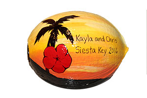 Save the date handpainted reminder coconut