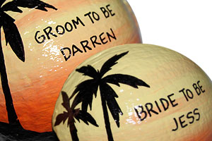 Engagement party gift idea: use painted coconuts!