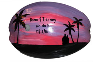 This painted coconut makes a great anniversary gift or wedding gift.