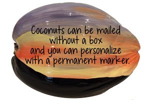 painted coconuts ready to personalize