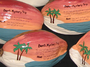 Whole coconuts direct mailed as a teaser giveaway gift for upcoming travel agent event.