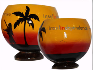 Hand painted logo on a coconut cup advertising specialties