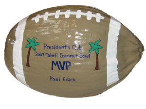 These coconuts were used by a large company for top sales recognition awards