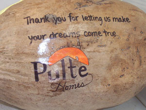 corporate thank you gift painted coconut