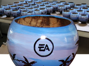 painted coconut cup for president's club awards and sales incentive awards acknowledgement