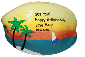 hand made Parrothead birthday coconut gift