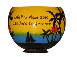 Hand Painted Coconut Cup for Corporate Retreat Invitation