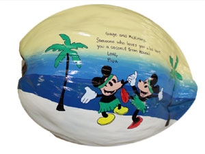 Hand Painted Mickey and Minnie Mouse Child's Birthday Gift Coconut