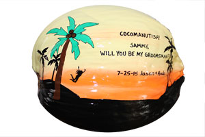 Hand Painted Coconut postcard