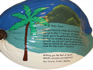 I love you hand painted coconut present
