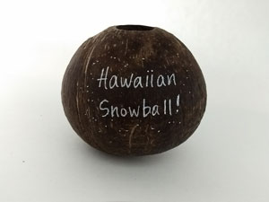 Snowball hollow coconut gag gift.