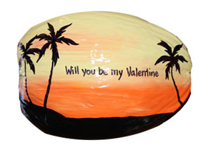 Happy Valentine Painted Coconut