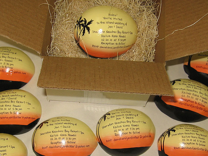 Painted coconuts for unique invitations and unusual gifts
