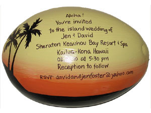 island destination wedding invitation hand painted on a half shell coconut