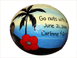 Island Destination Wedding Invitation coconuts
