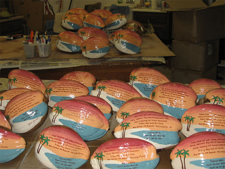 large painted coconut projects for marketing invitations and awards