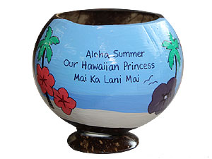 painted coconut cup luau party giveaways