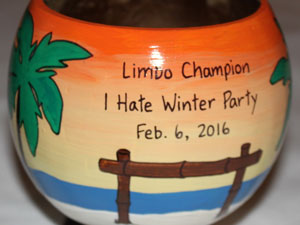 Limbo contest trophy painted coconut
