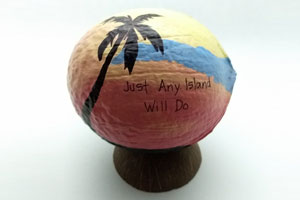 Beach themed painted coconut souvenir. We'll paint any text!