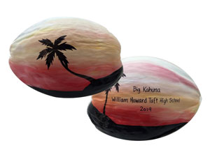 This coconut is painted on both sides for a high school award