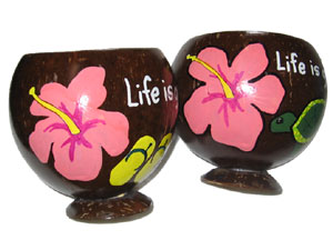 Personalized hand painted gift coconut cups