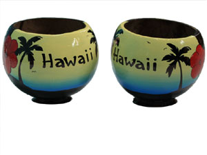 Personalized hand painted vacation memorabilia gift coconut cups made in USA