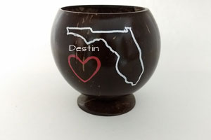 Customize this coconut cup with your state and city or saying