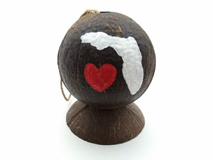 Florida painted hollow coconut souvenir. Pick your state and city and we'll paint it.