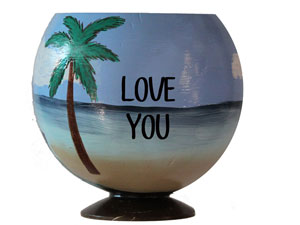 Hand painted coconut cups make unique gift ideas