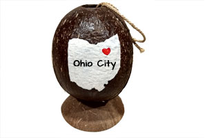 Coconut ornament ready to personalize with your state and city. Table top display or ready to hang.