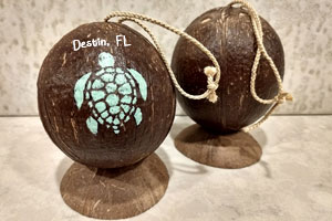 Add your city name to this painted coconut. The coconut stand shown is an optional purchase.