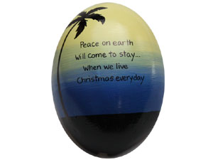 Hand painted coconut shell ornament with your personalized holiday greeting
