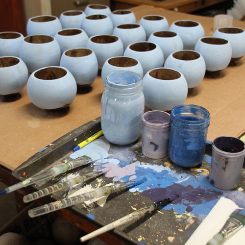 Hand painted coconut cups