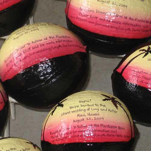 Send a coconut invitation hand painted for your event