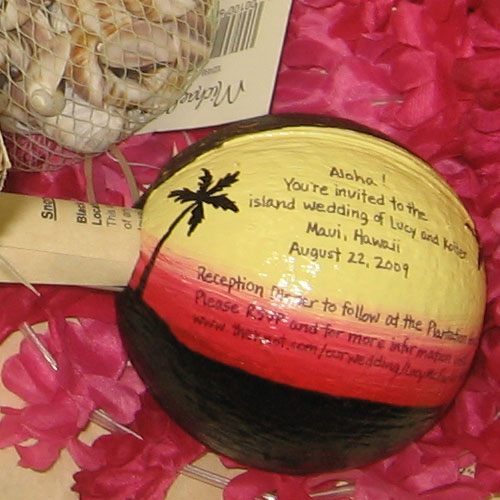 Hand painted coconut wedding invitations and favors