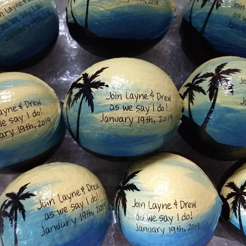 Painted Coconut Wedding Invitations