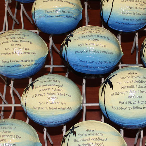 Send a coconut invitation hand painted for your wedding invitation