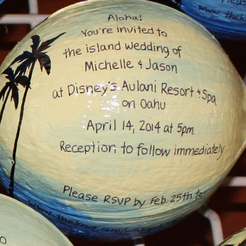 Hand painted coconut wedding invitations