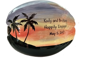 Marriage Proposal gift idea on a painted coconut