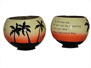 One of a kind retirement his and her gift idea - a pair of hand painted coconut cups