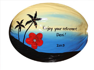 One of a kind retirement gift painted coconut cup