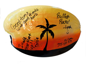 Bridal Party signed and painted coconut. Bring your coconut and a marker - have everyone sign it for the recipient.