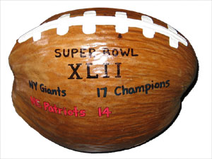 Super Bowl hand painted coconut football